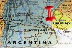Capitol van Argentinië op kaart wordt gespeld die Stock Foto