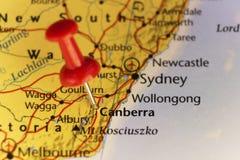 Capitol van Canberra van de kaart van Australië Stock Afbeeldingen