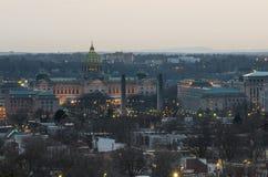 Capitol van Pennsylvania bij zonsondergang Royalty-vrije Stock Afbeelding