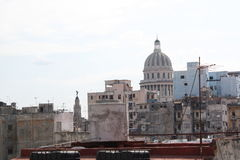 Capitol view from a high roof. Havana, Cuba Royalty Free Stock Image