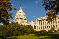 The Capitol, Washington D.C. Washington's most famous monument : the Capitol and its dome and columns. View from the Capitol's park in fall – District of Stock Photo