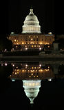 Capitol in Washington DC. View of the Capitol and its reflection in Washington DC at night stock photography