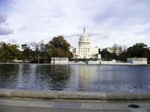 the capitol in washington with the pond in front royalty free stock photos