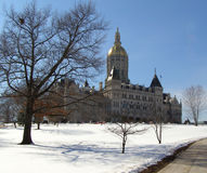 Capitol Winter View. State Capitol bldg in Hartford Connecticut Royalty Free Stock Photos