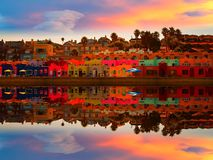 Capitola beach and reflection in magical sunset Stock Photos