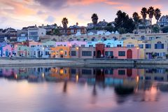 Capitola Village Sunset Reflections. Royalty Free Stock Photos