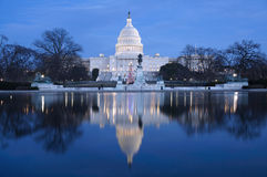 capitoldc-natt washington Royaltyfria Bilder