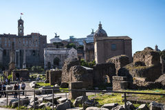 The Capitoline Hill from the Ancient Forum in Rome Italy. Rome Italy, the Eternal city, which has been a destination for tourists since the times of the Roman Royalty Free Stock Images