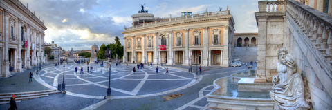 Capitoline Hill and Piazza del Campidoglio, Rome. HDR Panorama Capitoline Hill and Piazza del Campidoglio in the Evening, Rome, Italy Royalty Free Stock Image