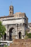 Capitoline Hill, Septimius Severus Arch at Roman Forum in city of Rome, Italy. ROME, ITALY - JUNE 24, 2017: Capitoline Hill, Septimius Severus Arch at Roman Stock Photos