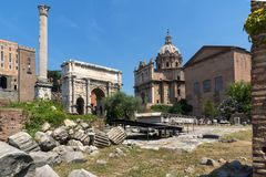 Capitoline Hill, Septimius Severus Arch at Roman Forum in city of Rome, Italy. ROME, ITALY - JUNE 24, 2017: Capitoline Hill, Septimius Severus Arch at Roman Royalty Free Stock Photo
