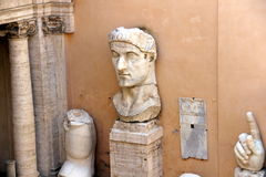 Capitoline Museums of Rome: Statues in the courtyard royalty free stock image
