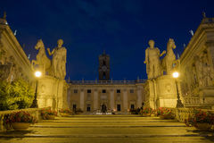 Capitoline Square with Castor and Pollux in Rome at Night. View of Statues Castor and Pollux at Piazza di Campidoglio in Rome At Night Stock Photos