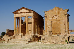 Capitoline tempel, Sufetula, Sbeitla, Tunisien Royaltyfri Foto