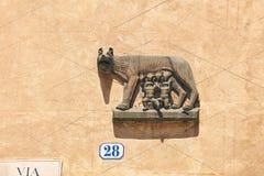 Capitoline Wolf bas-relief in Verona, Italy stock photos