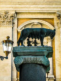 Capitoline Wolf. The Capitoline Wolf, legendary symbol of Rome, suckling Romulus and Remus Stock Photography