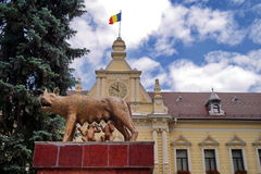 Landmark attraction in Brasov, Romania. Statue Capitoline wolf with Remus and Romulus in front of the Town Hall Royalty Free Stock Images