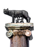 The Capitoline Wolf: Statue of the she-wolf suckling Romulus and Stock Photo