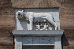 The Capitoline wolf suckling Romulus and Remus. stock photos