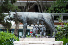 Capitoline wolf and twins. A Sculpture of Capitoline Wolf, Romulus, and Remus that can be found in the Botanical Gradens in Buenos Aires stock photo