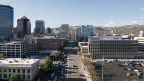 Capitolio c?ntrico del estado de Salt Lake City Utah de la visi?n a?rea metrajes