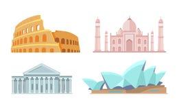 Capitolio de los E.E.U.U. y de Taj Mahal Vector Illustration ilustración del vector