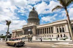 Capitolio - Havana, Cuba. Retro car passes in front of Capitol building in Havana, Cuba Stock Image