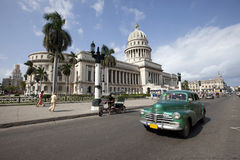 Capitolio with Vintage Car, Havana Stock Images