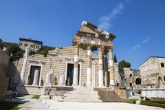 Capitolium of Brixia, Brescia, Italy. The ruins of the Capitolium or Temple of the Capitoline Triad in Brescia, Italy, main temple in the center of the ancient Stock Image