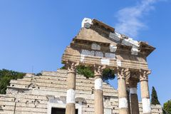 Capitolium of Brixia, Brescia, Italy. The ruins of the Capitolium or Temple of the Capitoline Triad in Brescia, Italy, main temple in the center of the ancient Stock Images
