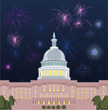 Capitolium with 4th of july fireworks. Washington DC Capitol building with open firewrok set  illustration Royalty Free Stock Images