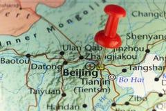 Capitolstad van Peking China Rode speld op kaart Royalty-vrije Stock Afbeelding