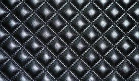 Capitonnage en cuir noir des meubles Photos libres de droits