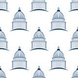Capitool die naadloze patroonachtergrond bouwen Stock Foto