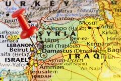Capitool van Syrië, Damascus, rode speld Royalty-vrije Stock Foto's