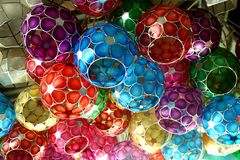 Capiz shell lamps sold at a store in the Philippines. Stock Photos