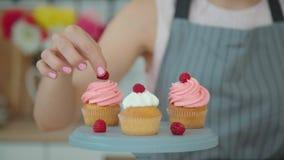 Capkakes apetitosos com creme branco e cor-de-rosa em um suporte do bolo video estoque