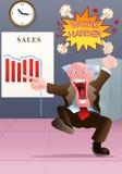 Capo arrabbiato che guarda il cattivo grafico di vendite Immagine Stock
