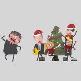 Capo arrabbiato e impiegato di concetto che decorano l'albero di natale 3d illustrazione di stock