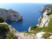 Capo Caccia. Cliffs over the sea in northwest Sardinia Stock Image