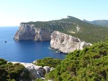 Capo Caccia. Cliffs over the sea in northwest Sardinia Stock Images