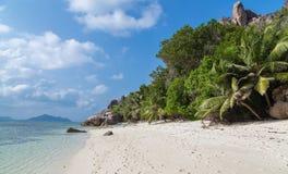 Capo Carre de Anse en el La Digue Seychelles fotografía de archivo libre de regalías