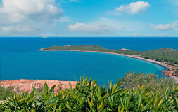 Capo Coda Cavallo on a cloudy day. In Sardinia Stock Images