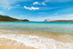Capo Coda Cavallo shoreline on a clear day Royalty Free Stock Photos