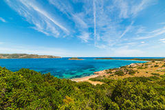 Capo Coda Cavallo under white clouds Royalty Free Stock Photography