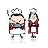 Capo cuoco con la ragazza di aiuto, fumetto per il vostro Fotografia Stock