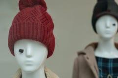 Capo de las lanas en maniquí en la sala de exposición de la tienda de la moda imágenes de archivo libres de regalías
