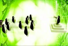 capo del pinguino 3d che dà discorso al gruppo di illustratio dei pinguini Fotografie Stock