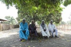 Capo del villaggio e consiglio africani degli anziani immagini stock