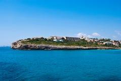 Capo di Cala Anguila, hotel e ville, Majorca Fotografie Stock Libere da Diritti